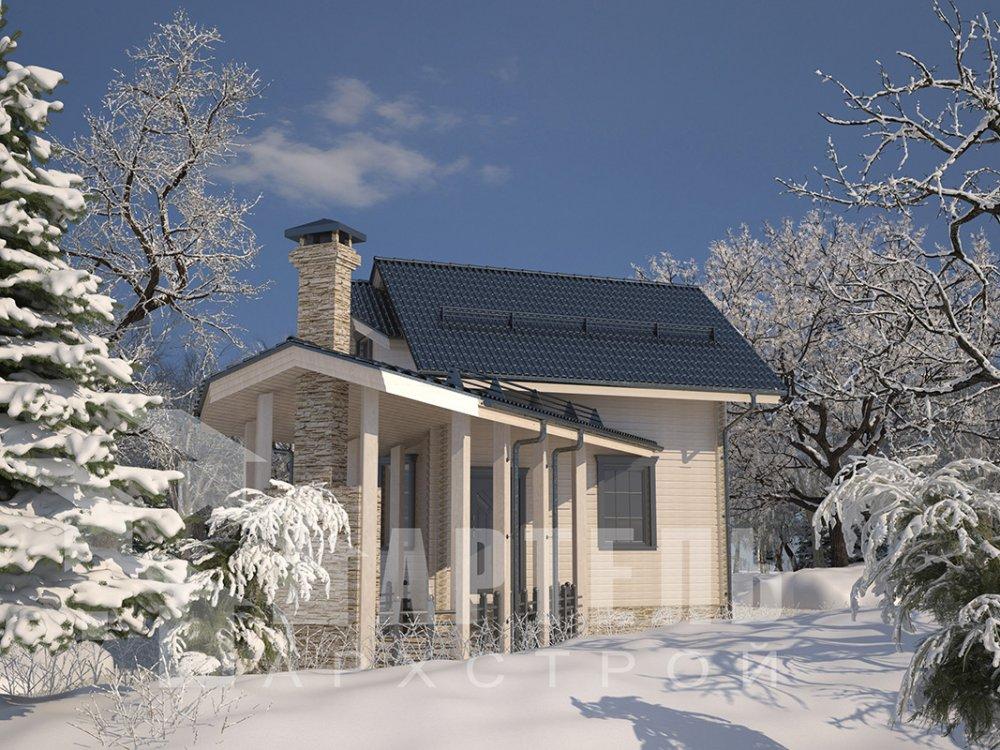 двухэтажный дом из профилированного бруса площадью от 100 до 150 кв. м. с  мансардой, террасой, эркером, проект Вариант 6.7 Б фотография 4192