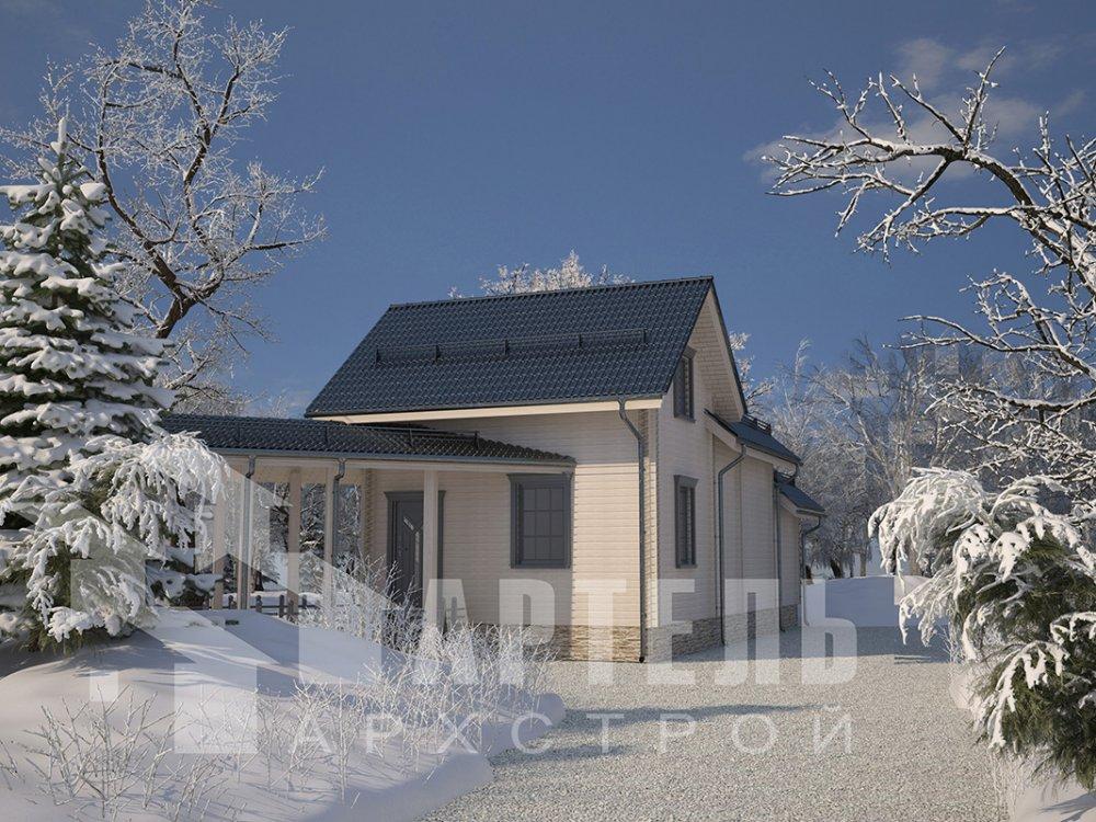 двухэтажный дом из профилированного бруса площадью от 100 до 150 кв. м. с  мансардой, террасой, эркером, проект Вариант 6.7 Б фотография 4193