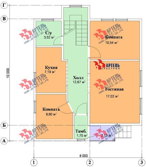 трёхэтажный дом из бруса площадью от 150 до 200 кв. м. с  мансардой, проект Вариант 8 П фотография 1192