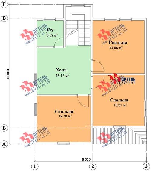 трёхэтажный дом из бруса площадью от 150 до 200 кв. м. с  мансардой, проект Вариант 8 П фотография 1193
