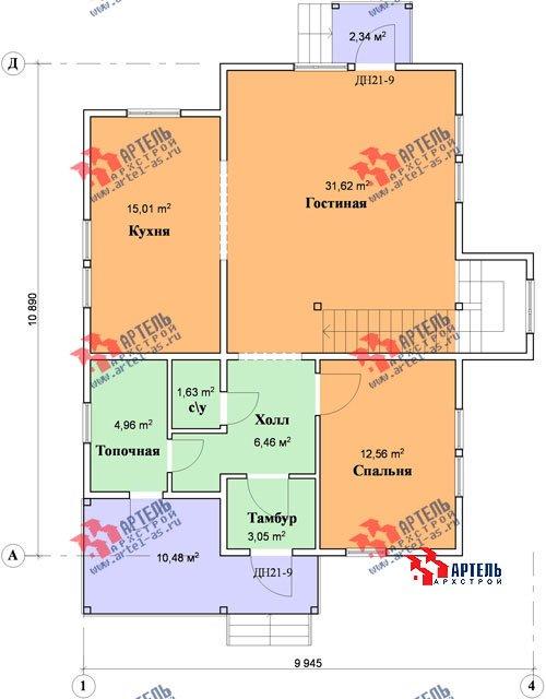 двухэтажный дом из бруса площадью от 150 до 200 кв. м. с  мансардой, террасой, проект Вариант 9.9 А фотография 1217