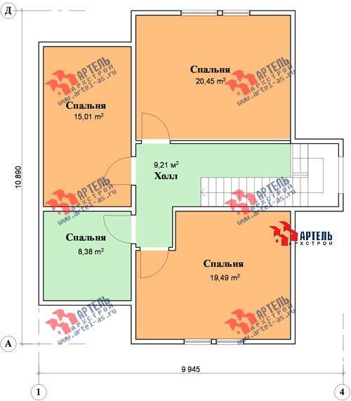 двухэтажный дом из бруса площадью от 150 до 200 кв. м. с  мансардой, террасой, проект Вариант 9.9 А фотография 1225