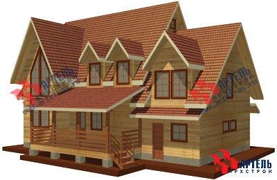 двухэтажный дом из профилированного бруса площадью свыше 200 кв. м. с  гаражом, мансардой, террасой, проект Вариант 10.2 А фотография 1313