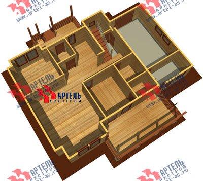 двухэтажный дом из профилированного бруса площадью свыше 200 кв. м. с  гаражом, мансардой, террасой, проект Вариант 10.2 А фотография 1318