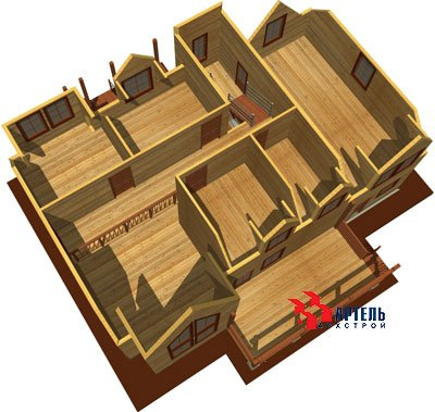 двухэтажный дом из профилированного бруса площадью свыше 200 кв. м. с  гаражом, мансардой, террасой, проект Вариант 10.2 А фотография 1319