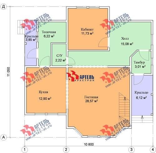 двухэтажный проект площадью от 150 до 200 кв. м. с  балконом, мансардой, эркером, проект Вариант 11 И фотография 1439