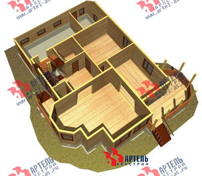 двухэтажный дом из бруса площадью свыше 200 кв. м. с  балконом, верандой, мансардой, эркером, проект Вариант 12.8 Б фотография 1467