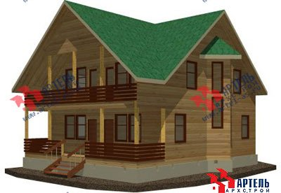 двухэтажный дом из бруса площадью свыше 200 кв. м. с  балконом, мансардой, террасой, эркером, проект Вариант 14 Б фотография 1483