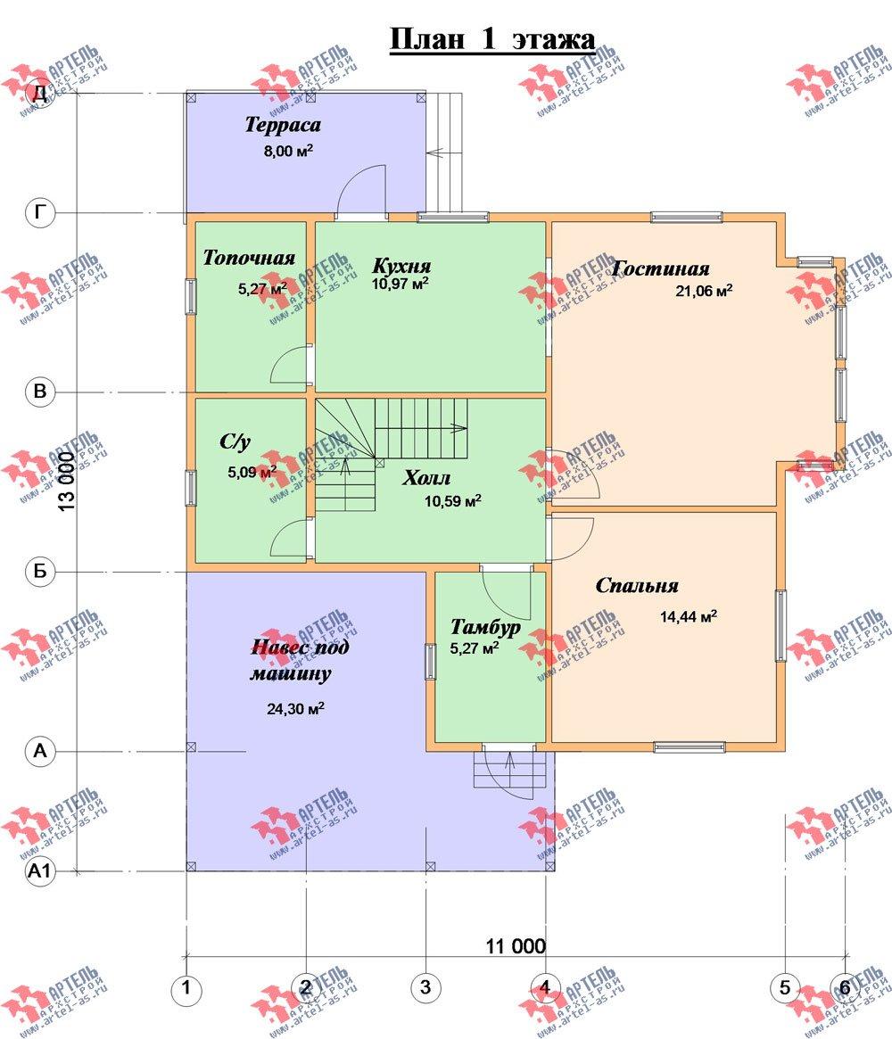 двухэтажный дом из бруса площадью от 150 до 200 кв. м. с  мансардой, террасой, проект Вариант 13 В фотография 2228