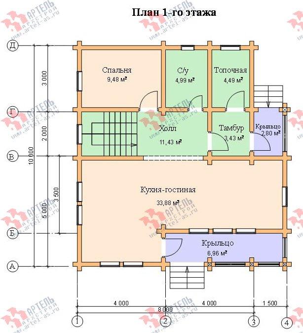 двухэтажный дом из профилированного бруса площадью от 100 до 150 кв. м. с  балконом, проект Вариант 9.5 К фотография 72