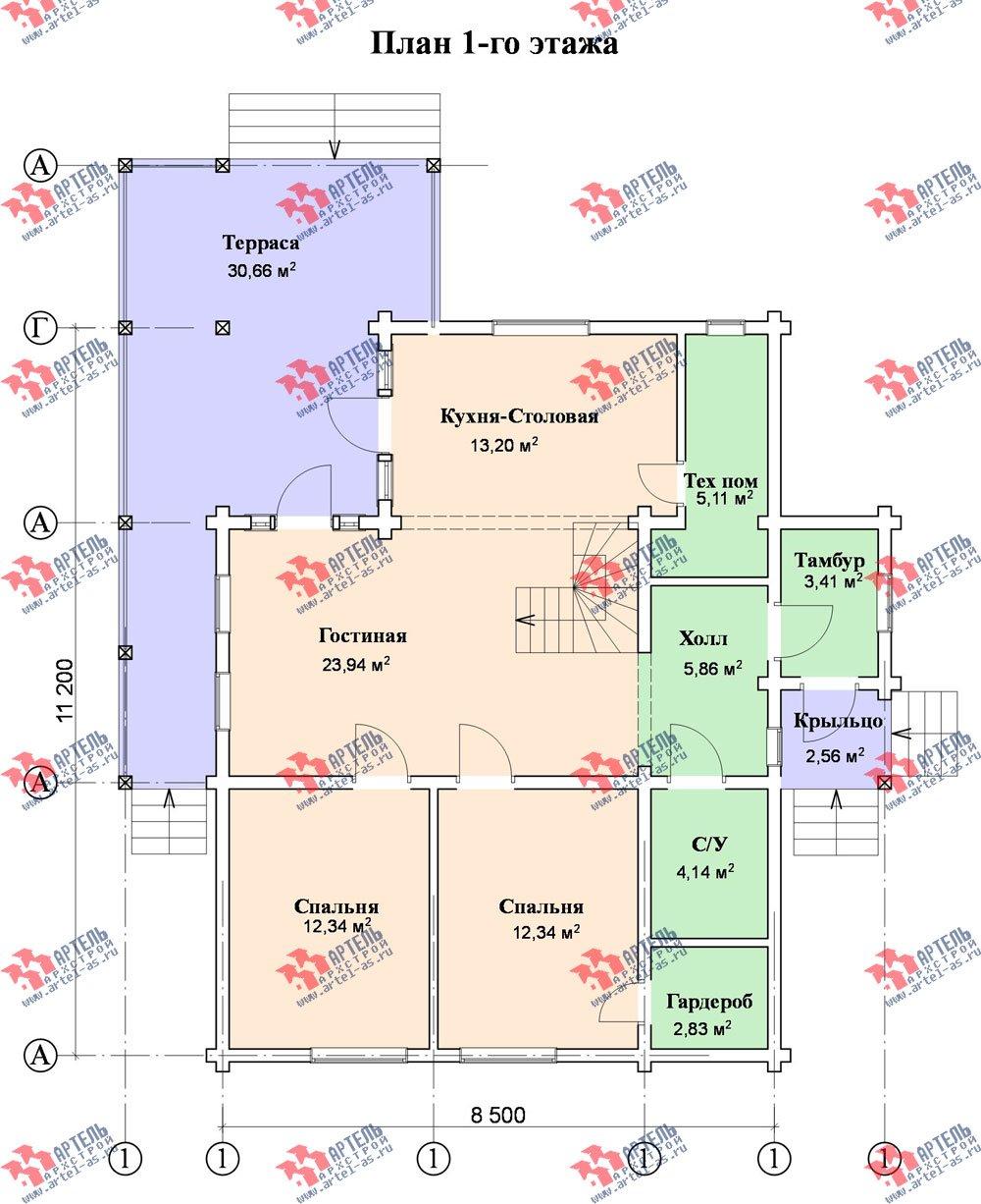 двухэтажный дом из профилированного бруса площадью от 150 до 200 кв. м. с  мансардой, террасой, проект Вариант 8.5 Л фотография 85