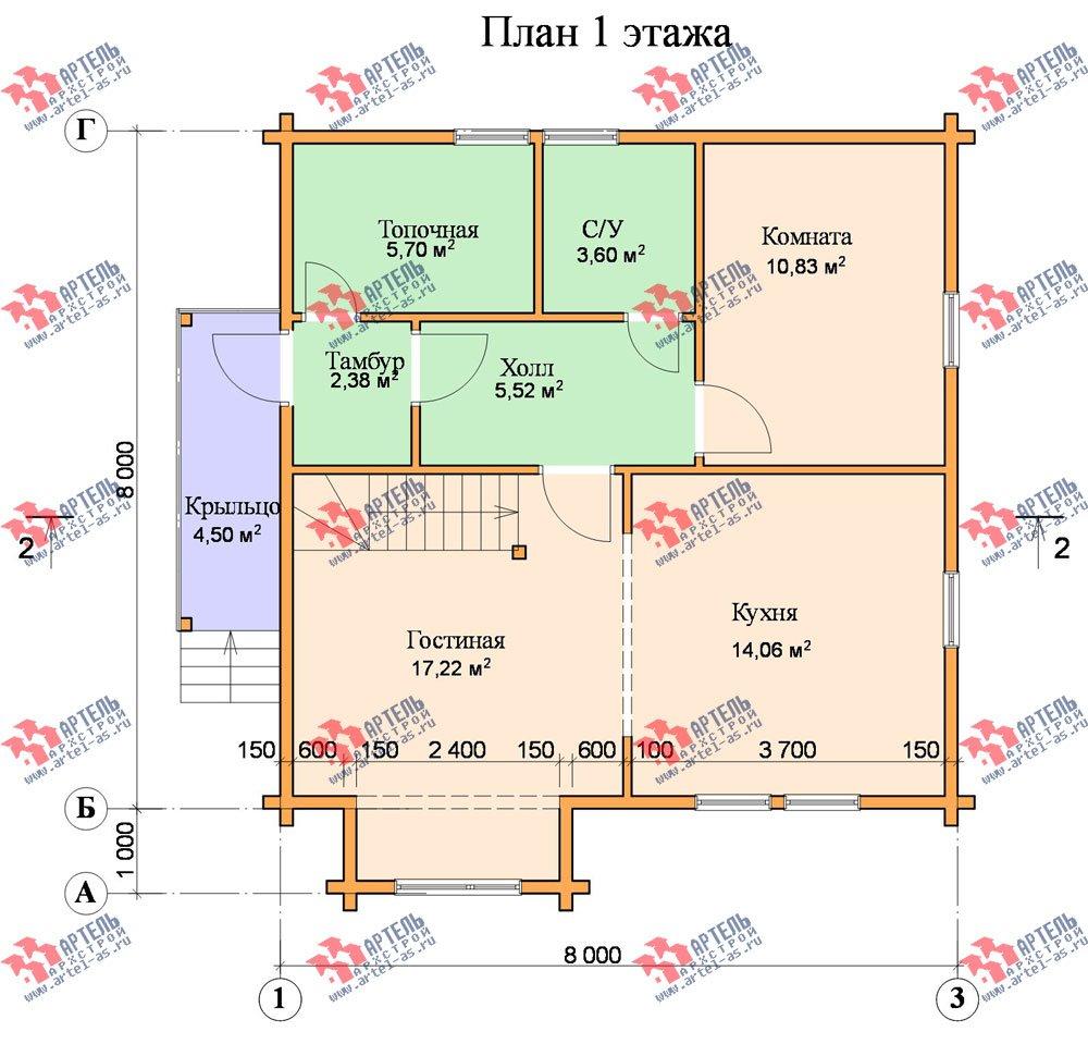 двухэтажный дом из профилированного бруса площадью от 100 до 150 кв. м. с  мансардой, эркером, проект Вариант 8 Т фотография 248