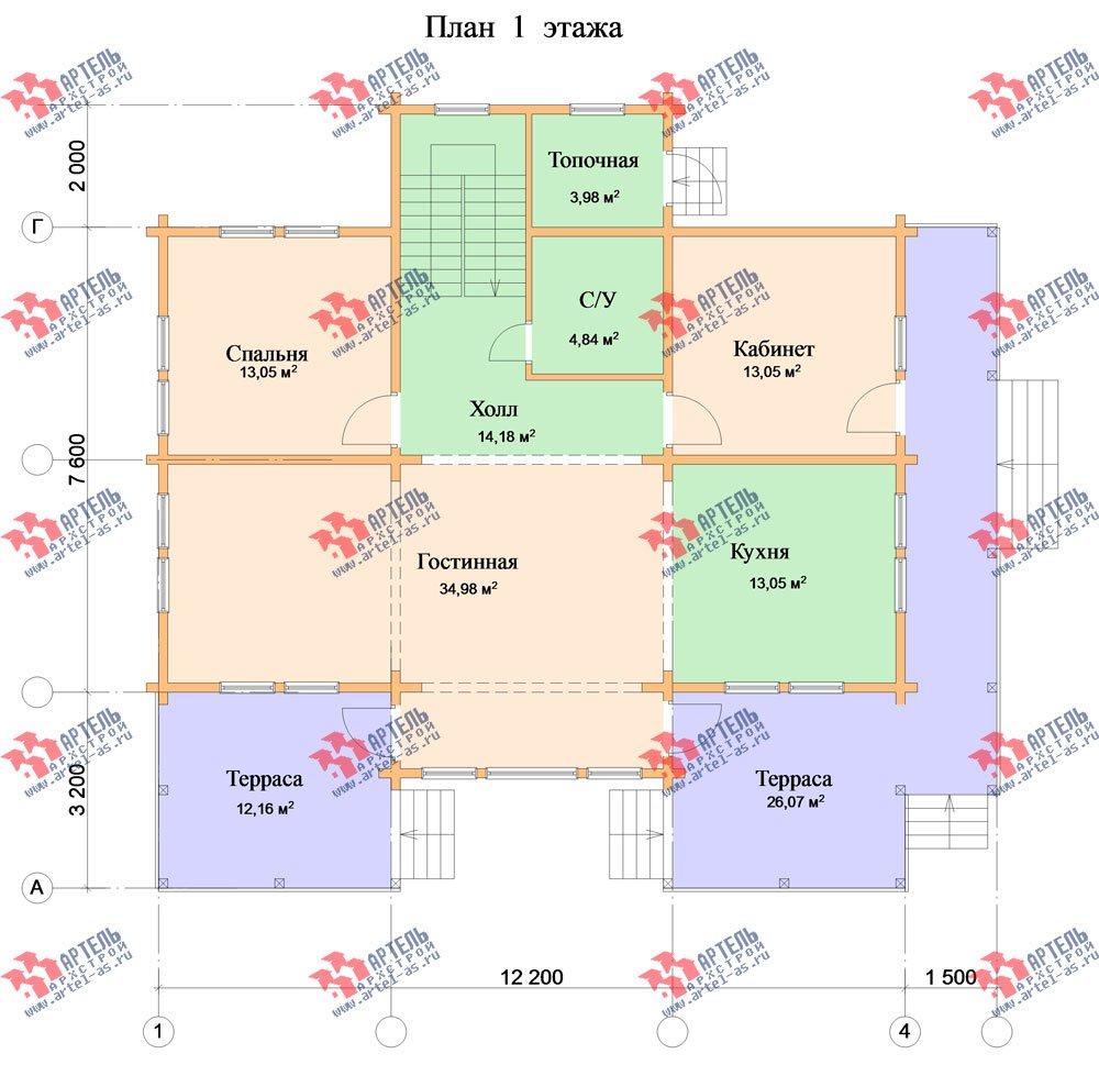 двухэтажный дом из профилированного бруса площадью свыше 200 кв. м. с  балконом, мансардой, террасой, эркером, проект Вариант 11 К фотография 435
