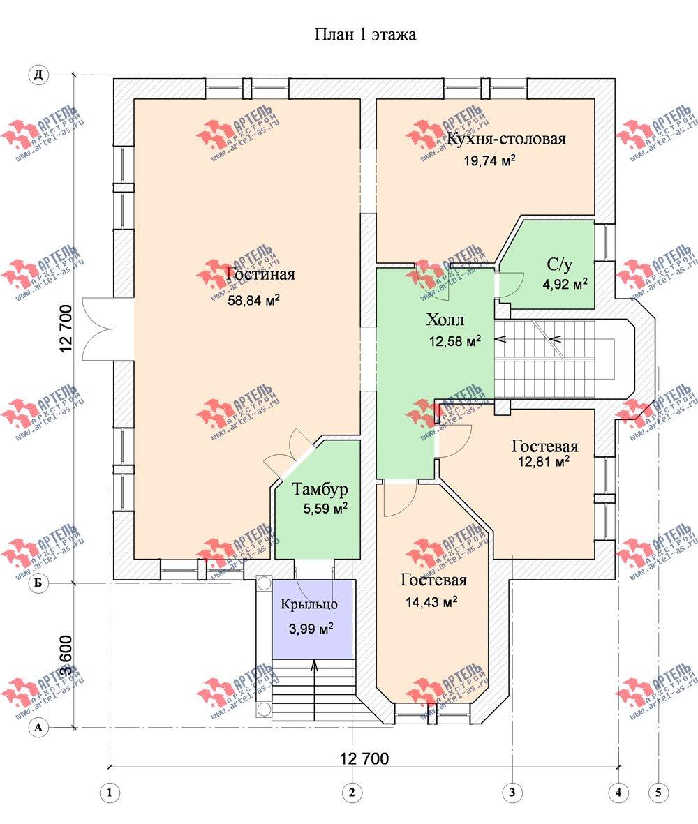 трёхэтажный дом из камня площадью свыше 200 кв. м. с  эркером, проект Вариант 20 фотография 652