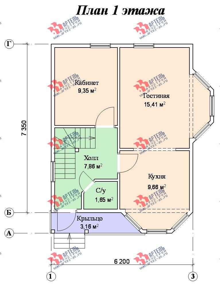 двухэтажный дом из бруса площадью до 100 кв. м. с  мансардой, эркером, проект Вариант 6.2 А фотография 717