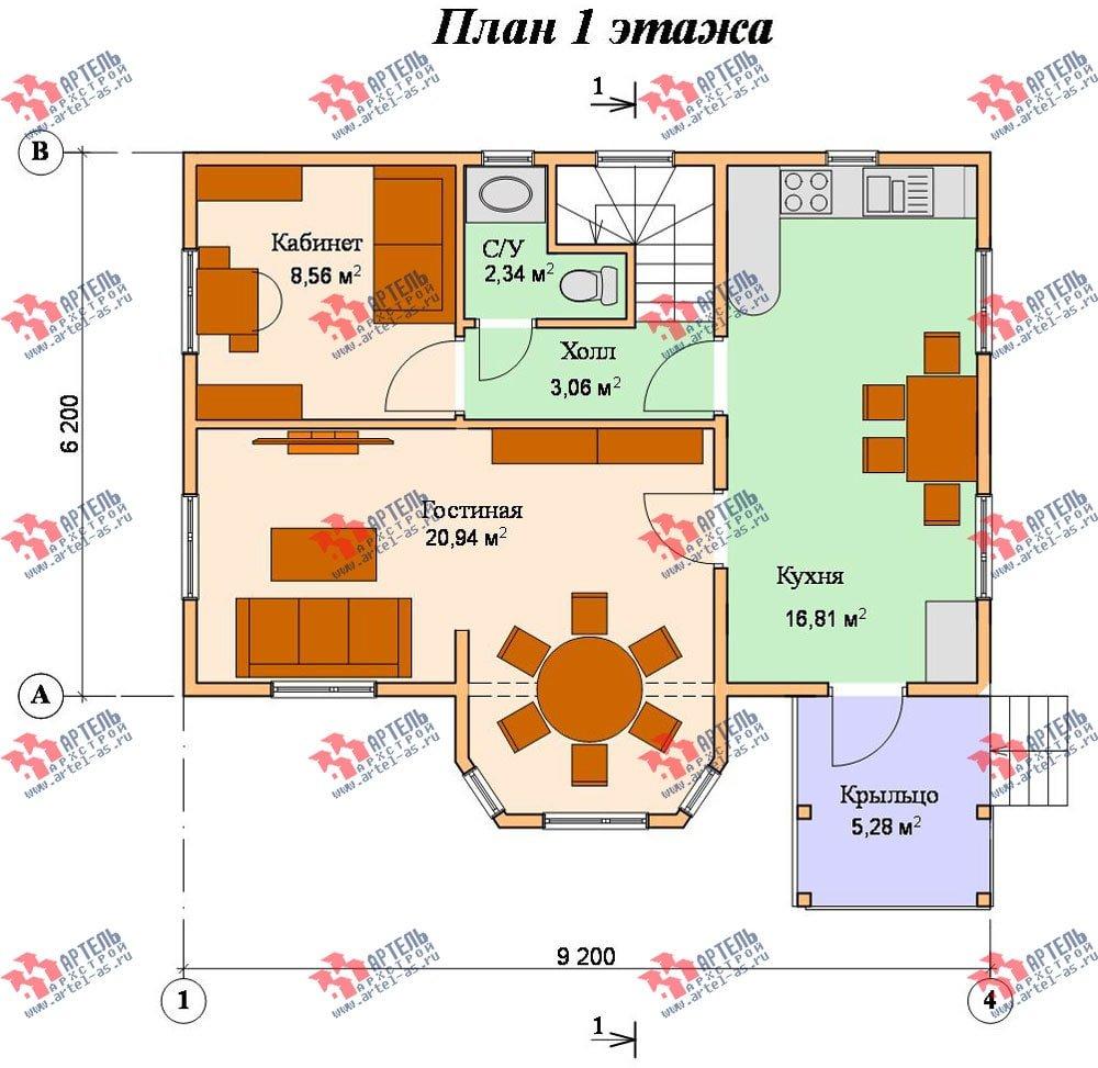двухэтажный дом из бруса площадью от 100 до 150 кв. м. с  балконом, мансардой, эркером, проект Вариант 6.2 К фотография 763