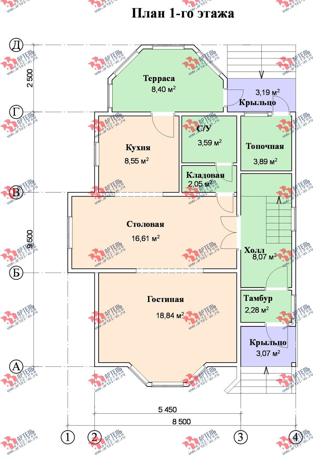двухэтажный дом из бруса площадью от 100 до 150 кв. м. с  верандой, мансардой, эркером, проект Вариант 8.5 Г фотография 999