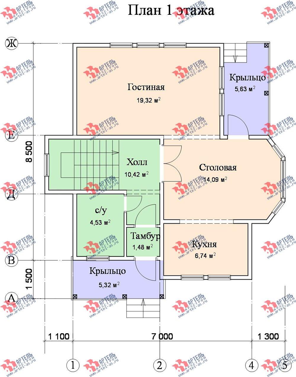 двухэтажный дом из бруса площадью от 100 до 150 кв. м. с  балконом, мансардой, эркером, проект Вариант 9.3 В фотография 1135