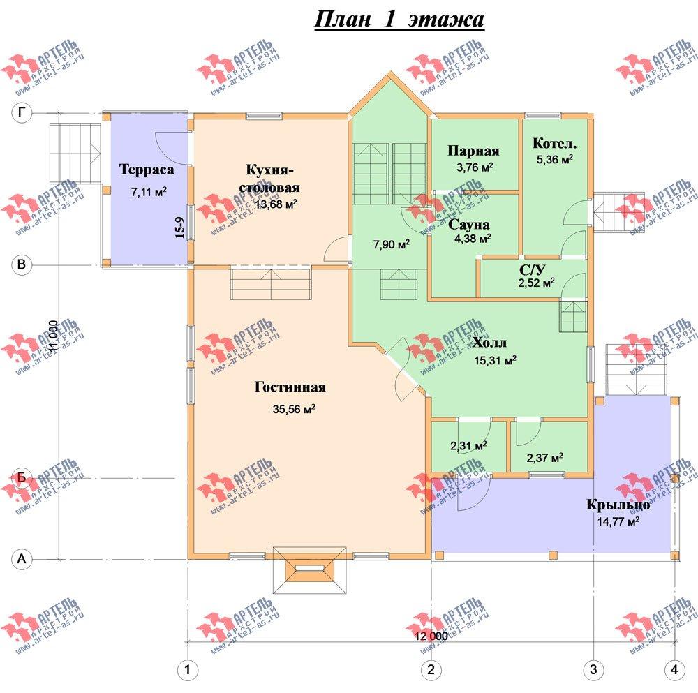 двухэтажный дом из бруса площадью свыше 200 кв. м. с  балконом, мансардой, террасой, проект Вариант 10 Г фотография 1350