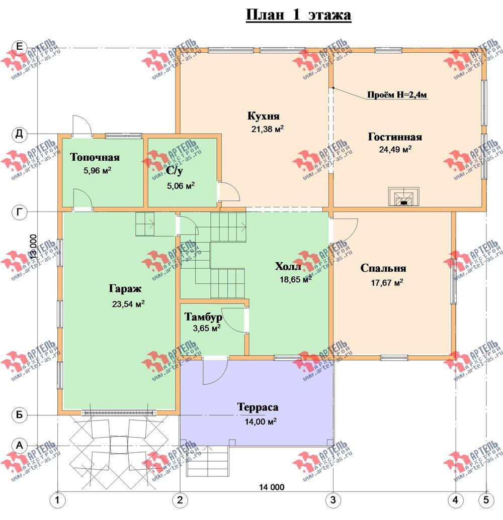двухэтажный дом из бруса площадью свыше 200 кв. м. с  гаражом, террасой, проект Вариант 13 Б фотография 1479
