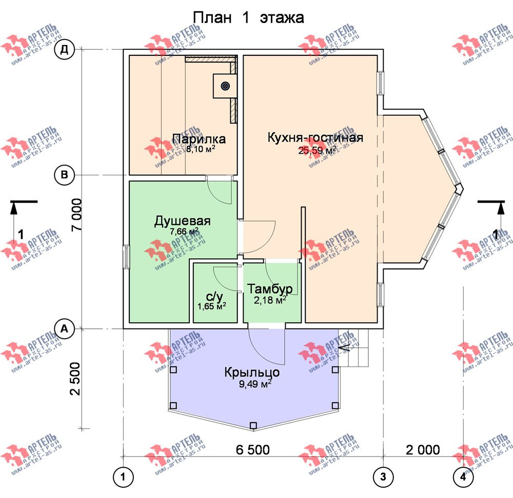 одноэтажный дом из профилированного бруса площадью до 100 кв. м., проект Вариант 2 фотография 1537