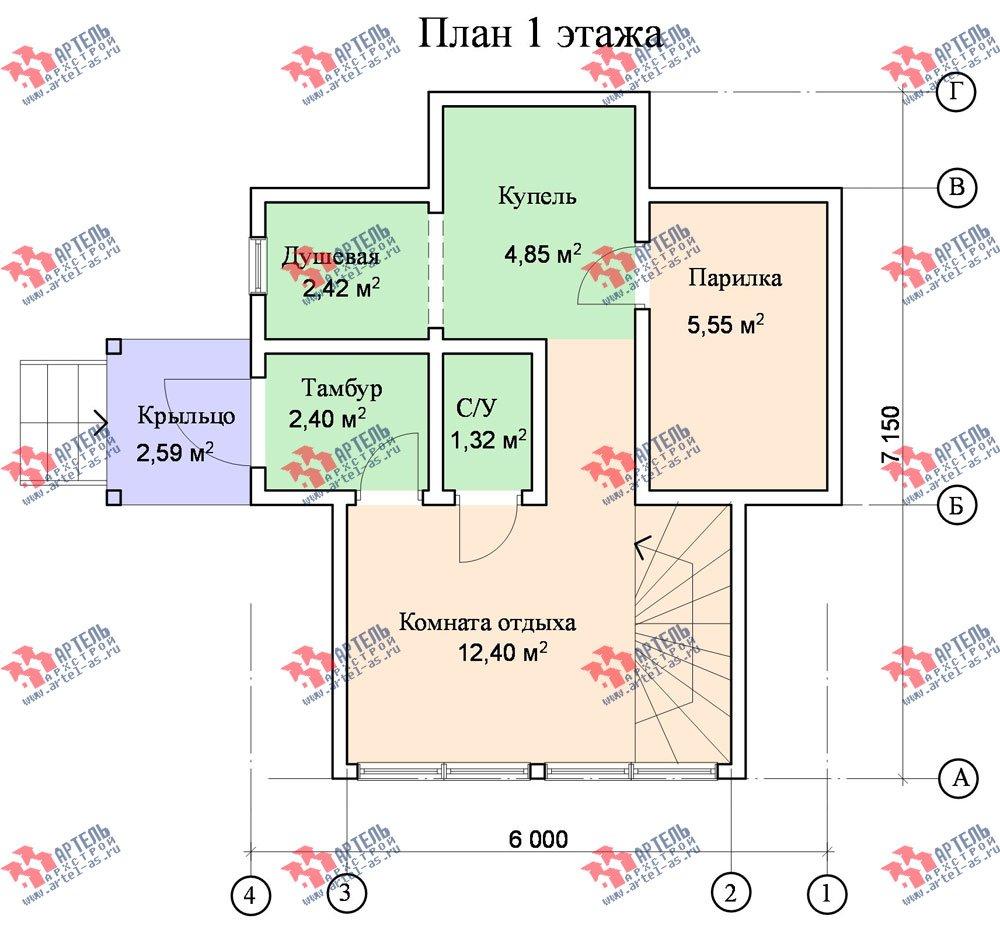 двухэтажный дом из профилированного бруса площадью до 100 кв. м., проект Вариант 3 фотография 1548