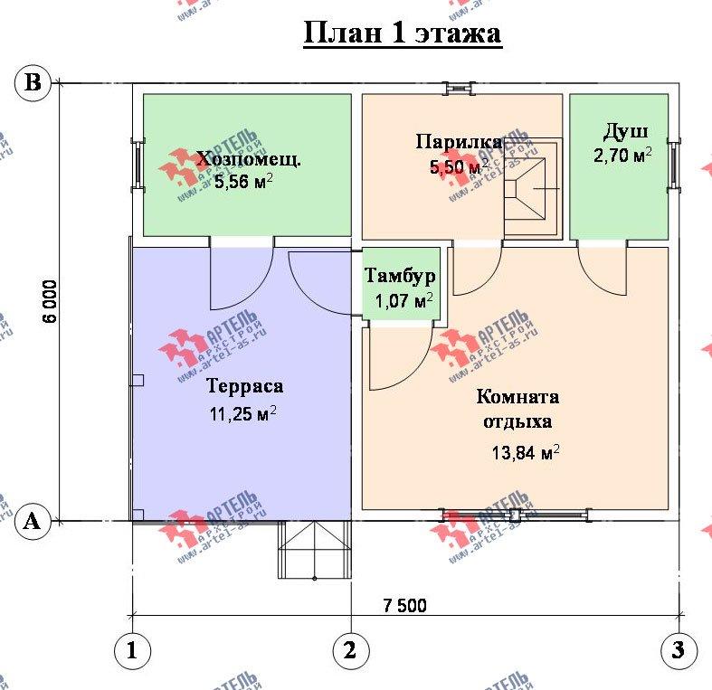одноэтажный дом из профилированного бруса площадью до 100 кв. м., проект Вариант 4 фотография 1558