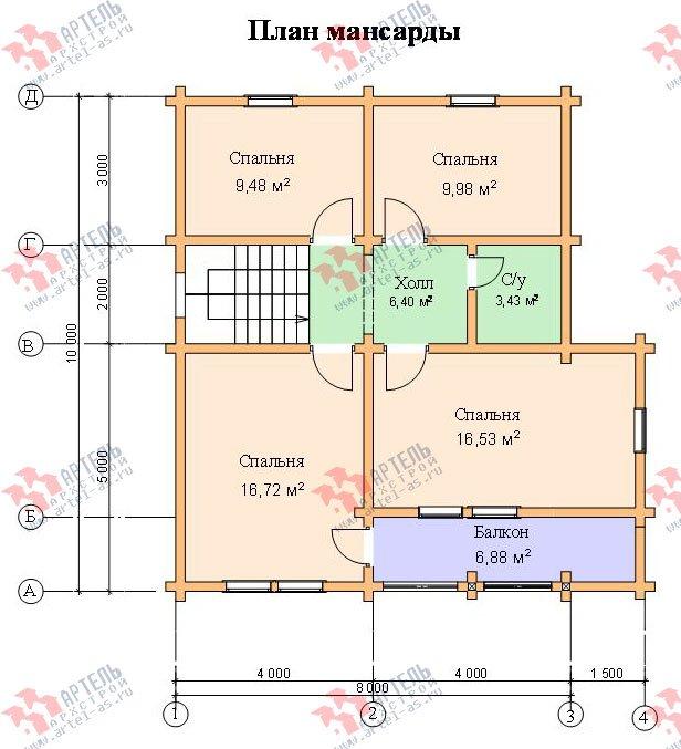 двухэтажный дом из профилированного бруса площадью от 100 до 150 кв. м. с  балконом, проект Вариант 9.5 К фотография 73