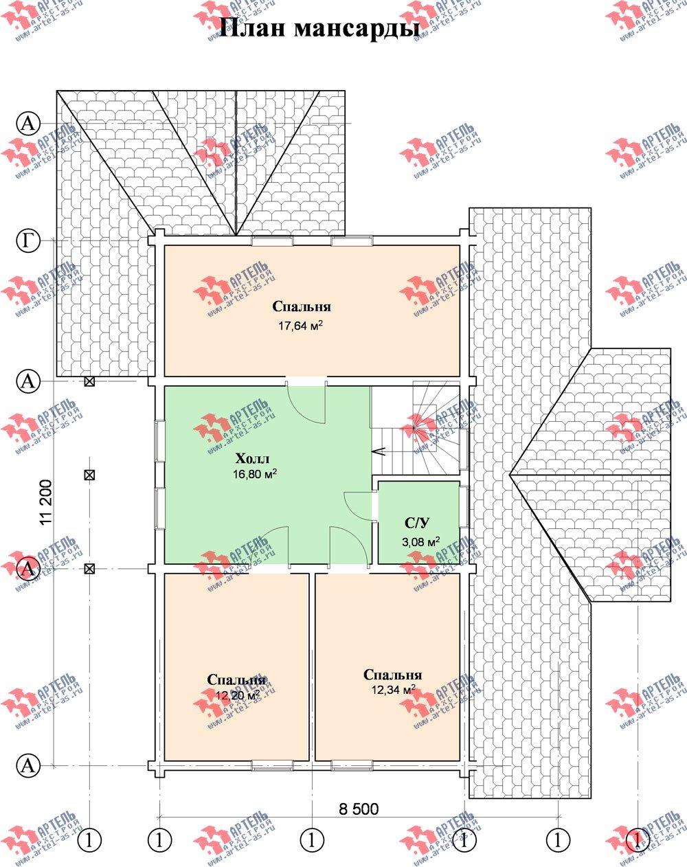 двухэтажный дом из профилированного бруса площадью от 150 до 200 кв. м. с  мансардой, террасой, проект Вариант 8.5 Л фотография 86