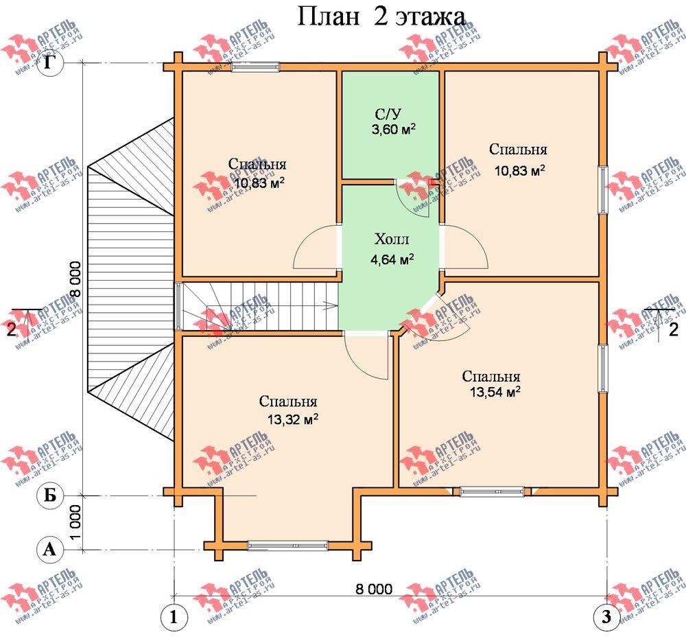 двухэтажный дом из профилированного бруса площадью от 100 до 150 кв. м. с  мансардой, эркером, проект Вариант 8 Т фотография 249