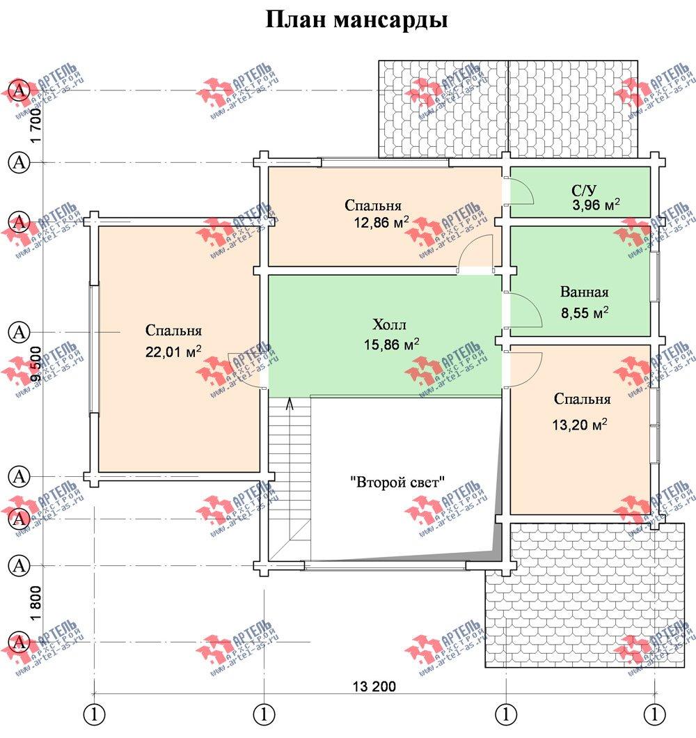 двухэтажный дом из профилированного бруса площадью от 150 до 200 кв. м. с  мансардой, террасой, проект Вариант 9.5 Т фотография 96