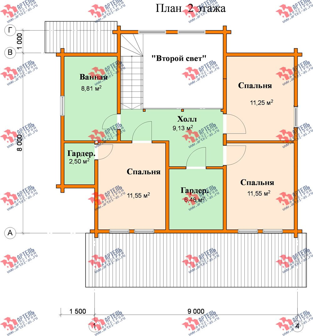 двухэтажный дом из профилированного бруса площадью от 150 до 200 кв. м., проект Вариант 9 О фотография 369