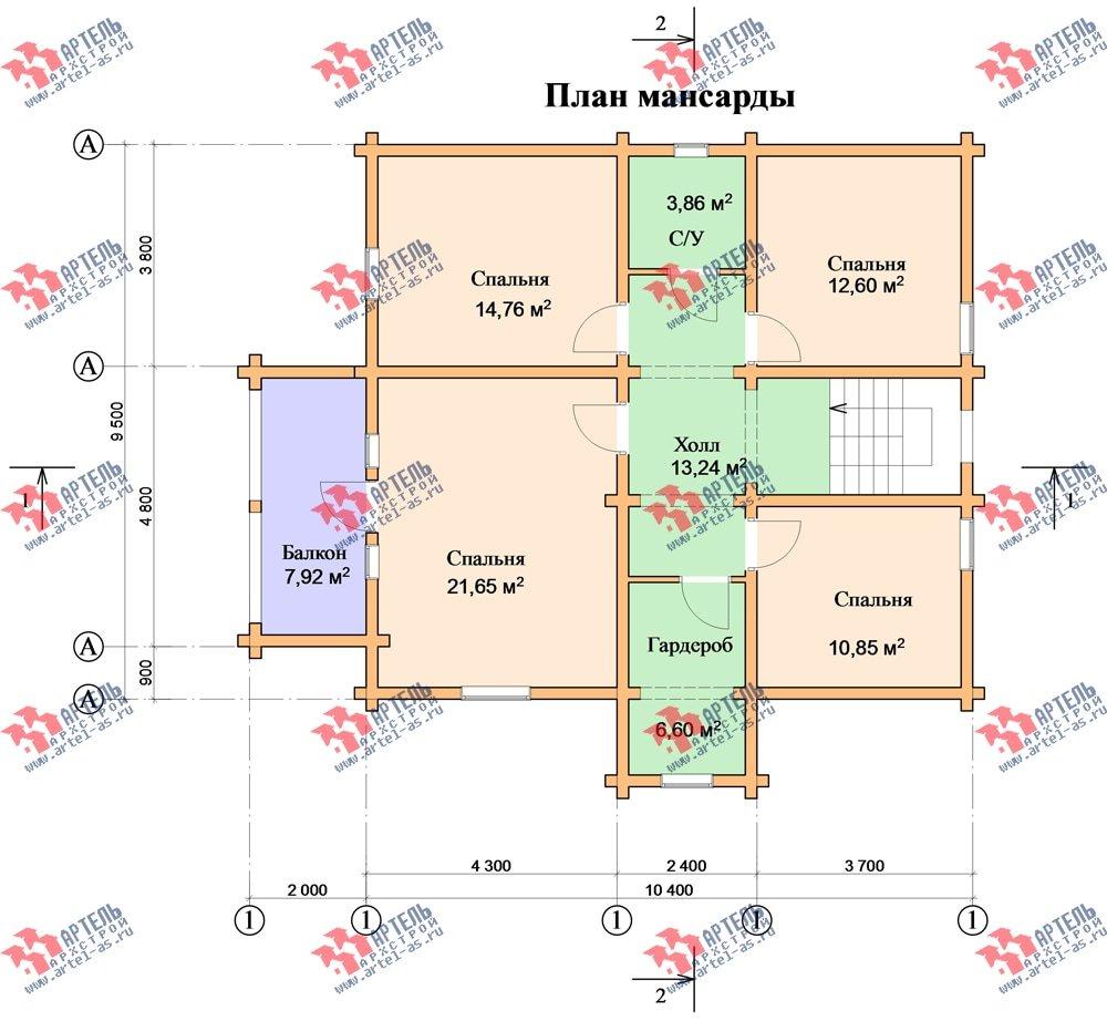 двухэтажный дом из бруса площадью свыше 200 кв. м. с  балконом, мансардой, проект Вариант 9.5 К-2 фотография 107
