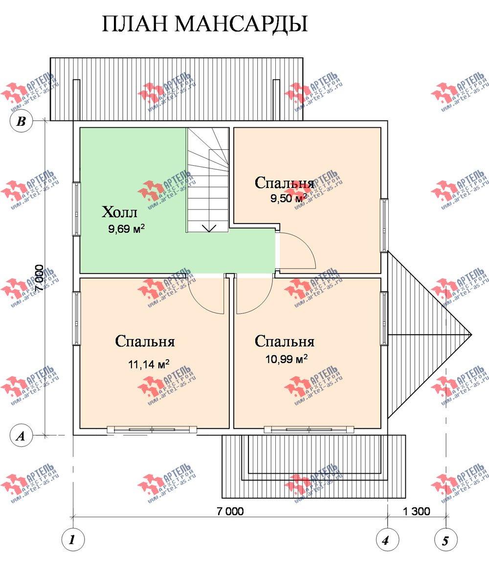 двухэтажный дом из профилированного бруса площадью до 100 кв. м. с  мансардой, эркером, проект Вариант 7 В фотография 805