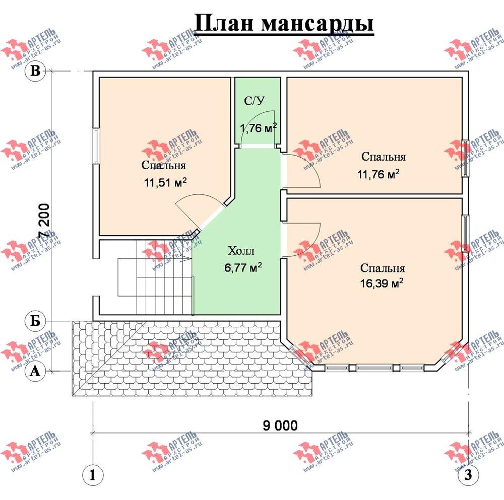 двухэтажный дом из профилированного бруса площадью от 100 до 150 кв. м. с  мансардой, эркером, проект Вариант 7.2 К фотография 867