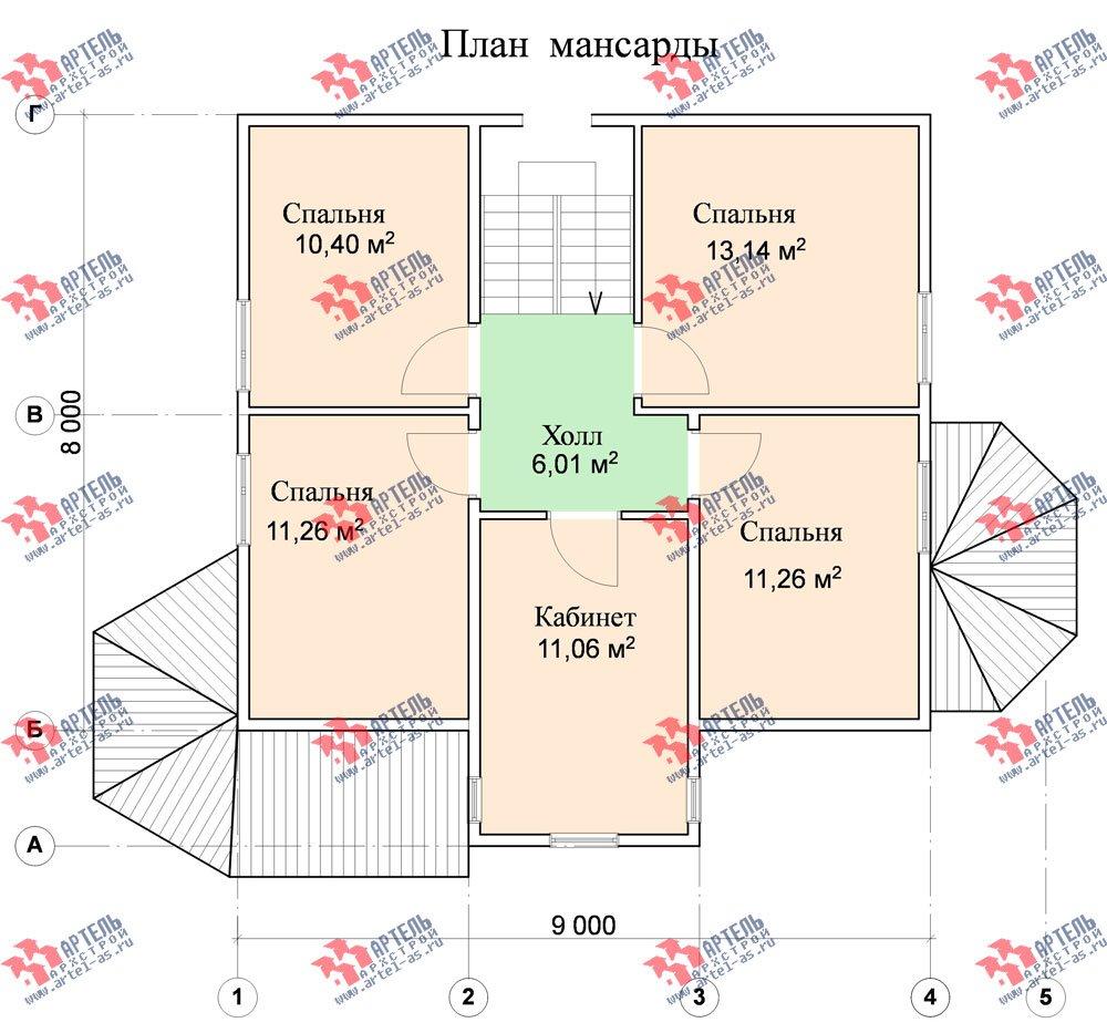 двухэтажный дом из бруса площадью от 100 до 150 кв. м. с  мансардой, террасой, эркером, проект Вариант 8 Д-1 фотография 1020