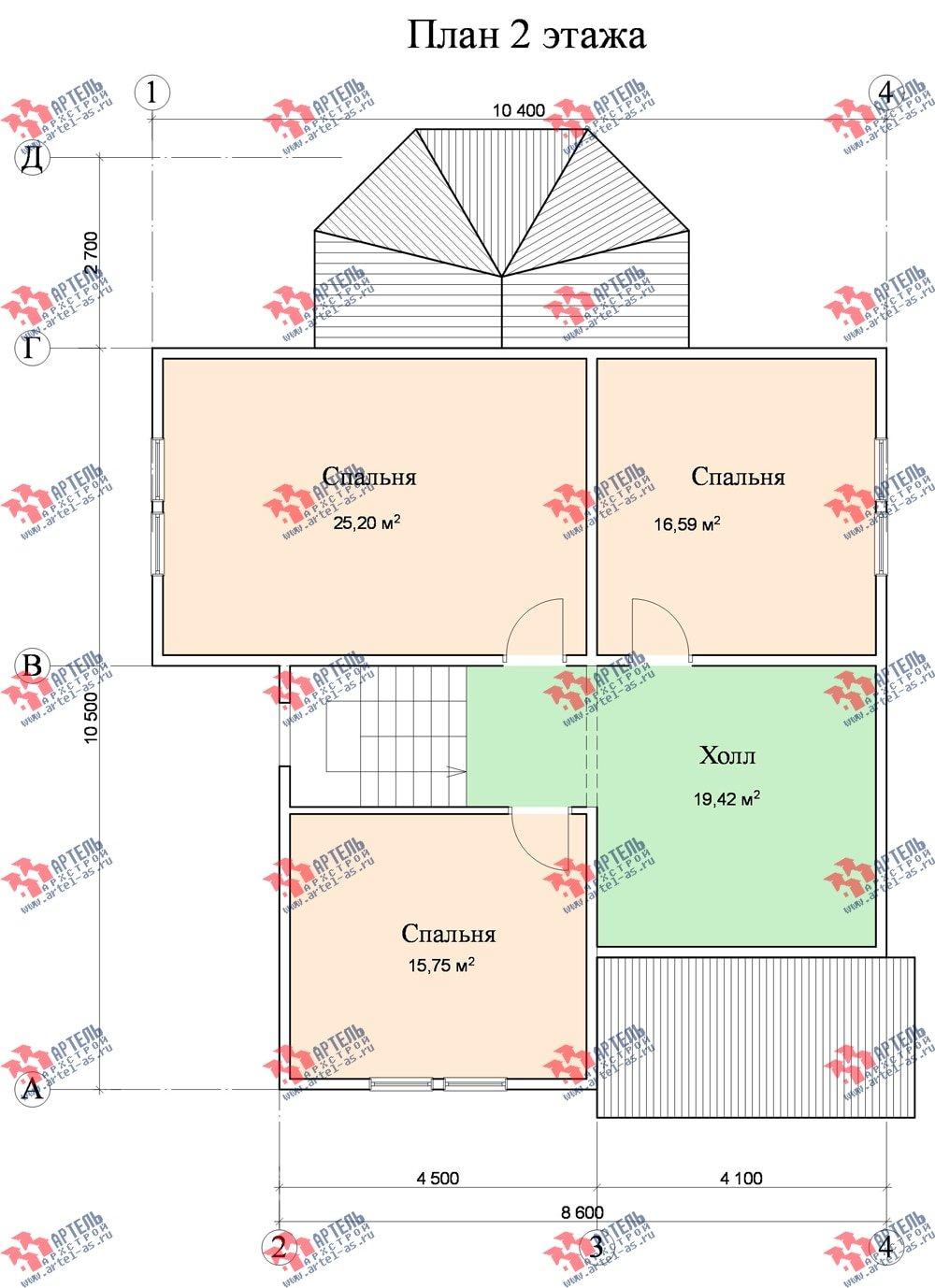 двухэтажный дом из бруса площадью от 150 до 200 кв. м. с  верандой, проект Вариант 8.6 А фотография 1156
