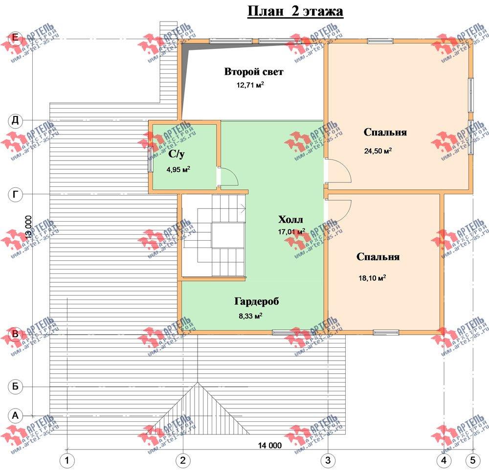 двухэтажный дом из бруса площадью свыше 200 кв. м. с  гаражом, террасой, проект Вариант 13 Б фотография 1480