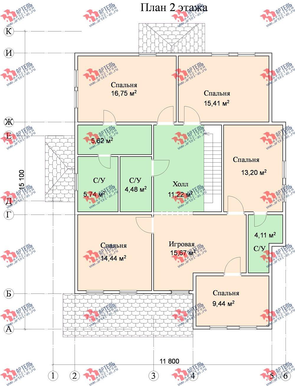 двухэтажный дом из бруса площадью свыше 200 кв. м. с  террасой, эркером, проект Вариант 15.1 А фотография 1501