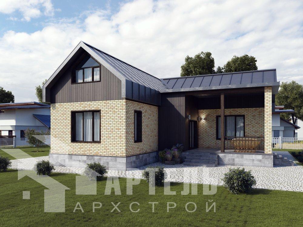 одноэтажный дом из профилированного бруса площадью от 100 до 150 кв. м. с  террасой, проект Вариант 9.8 К фотография 2614