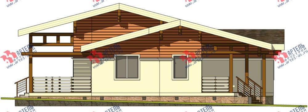 одноэтажный дом из профилированного бруса камерной сушки площадью от 150 до 200 кв. м. с  террасой, эркером, проект Вариант 5 фотография 2671