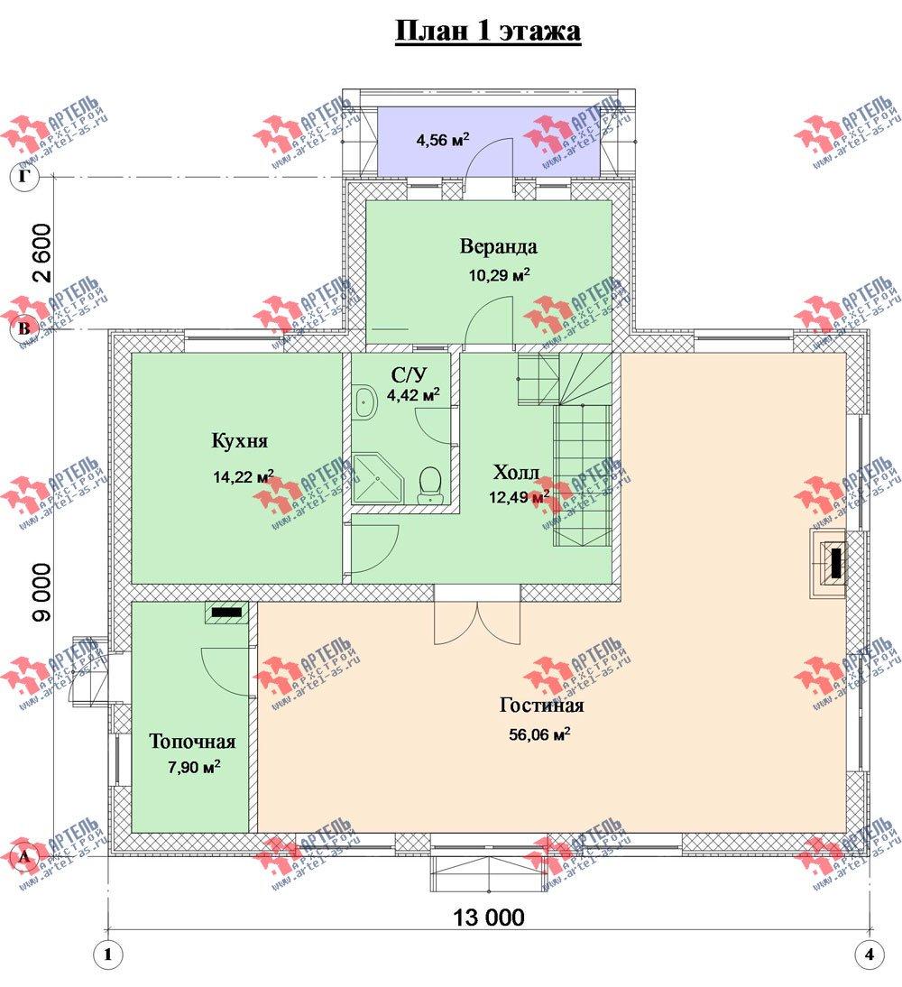 двухэтажный дом из камня площадью свыше 200 кв. м. с  верандой, проект Вариант 22 фотография 2698