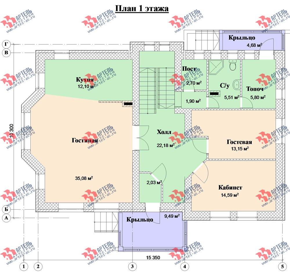 двухэтажный дом из камня площадью свыше 200 кв. м. с  балконом, эркером, проект Вариант 23 фотография 2719