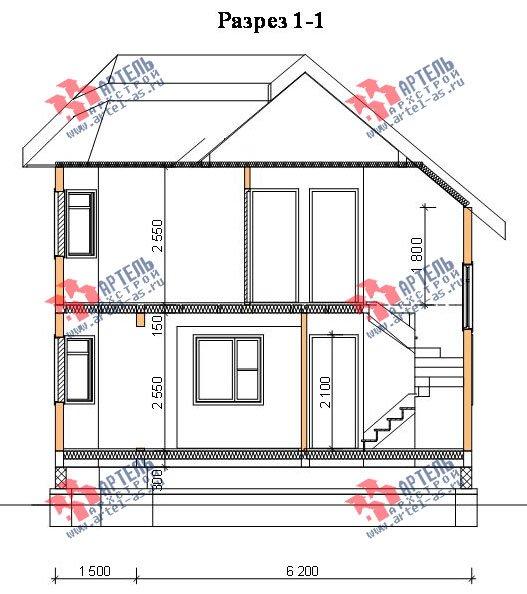 двухэтажный дом из бруса площадью от 100 до 150 кв. м. с  балконом, мансардой, эркером, проект Вариант 6.2 К фотография 765
