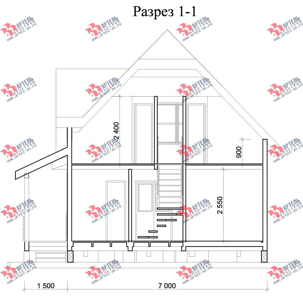 двухэтажный дом из профилированного бруса площадью до 100 кв. м. с  мансардой, эркером, проект Вариант 7 Е-1 фотография 844