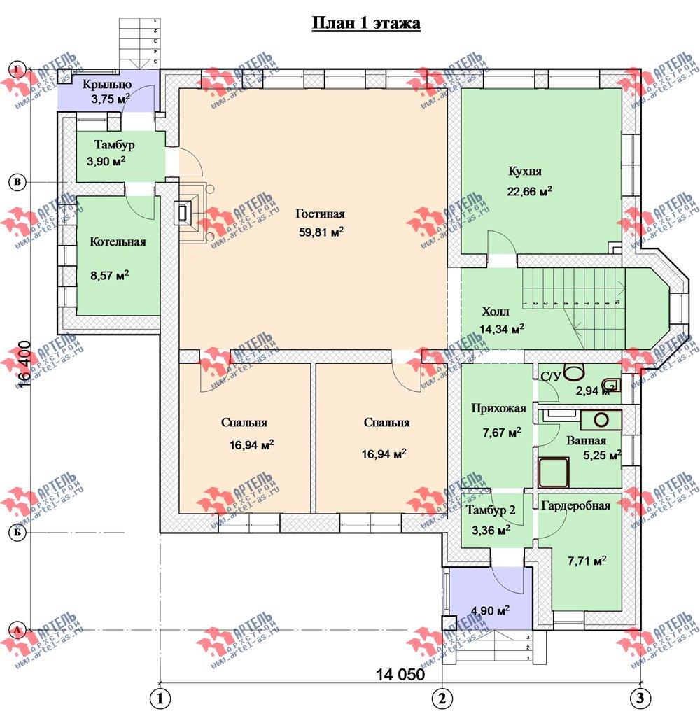 трёхэтажный дом из камня площадью свыше 200 кв. м. с  балконом, мансардой, эркером, проект Вариант 24 фотография 2746