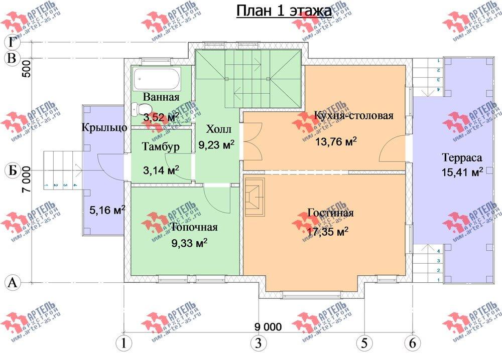 двухэтажный каркасный дом площадью от 100 до 150 кв. м. с  балконом, террасой, эркером, проект Вариант 9 фотография 2998