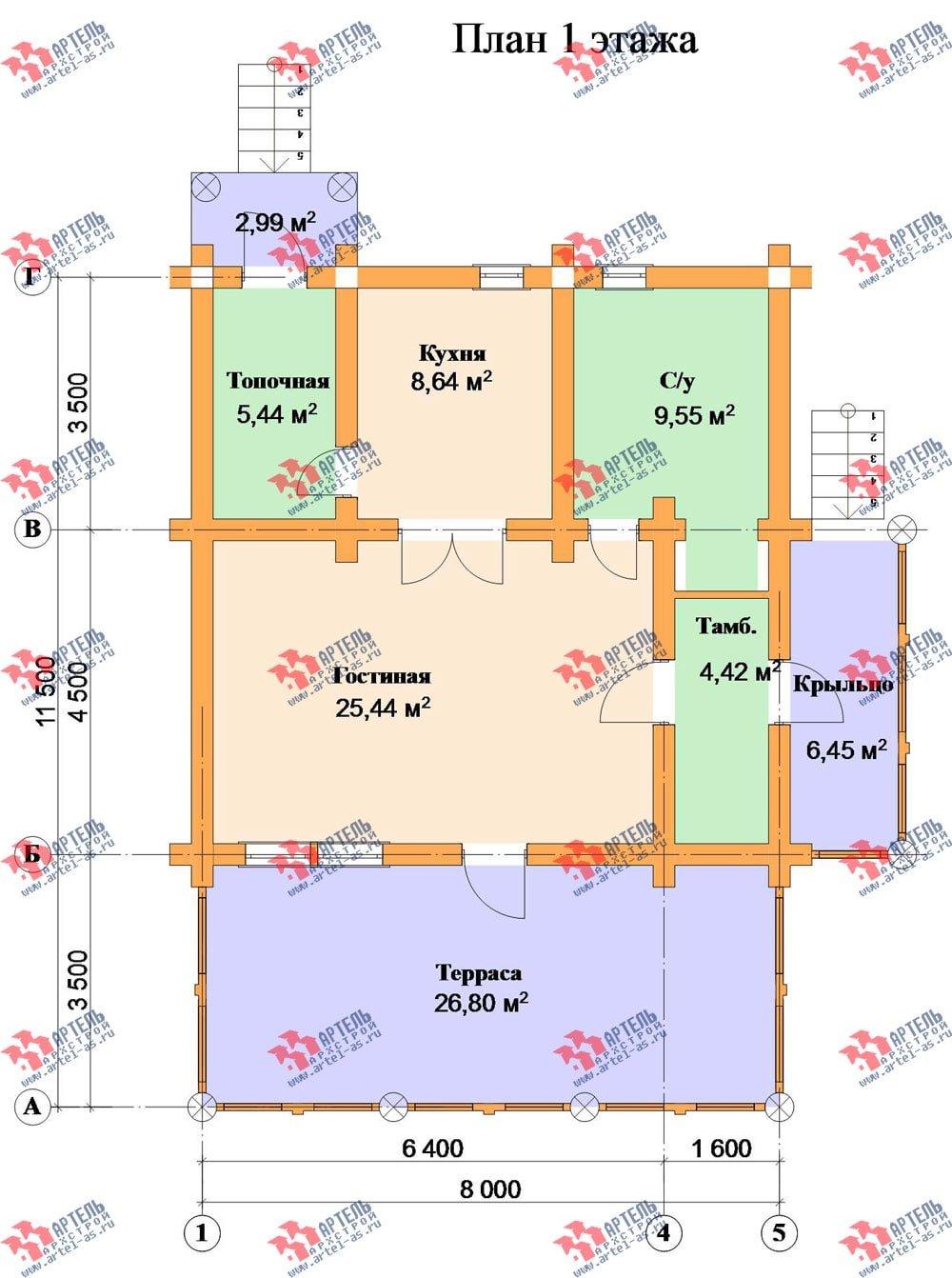 одноэтажный дом из оцилиндрованного бревна площадью до 100 кв. м. с  террасой, проект Вариант 2 фотография 3040