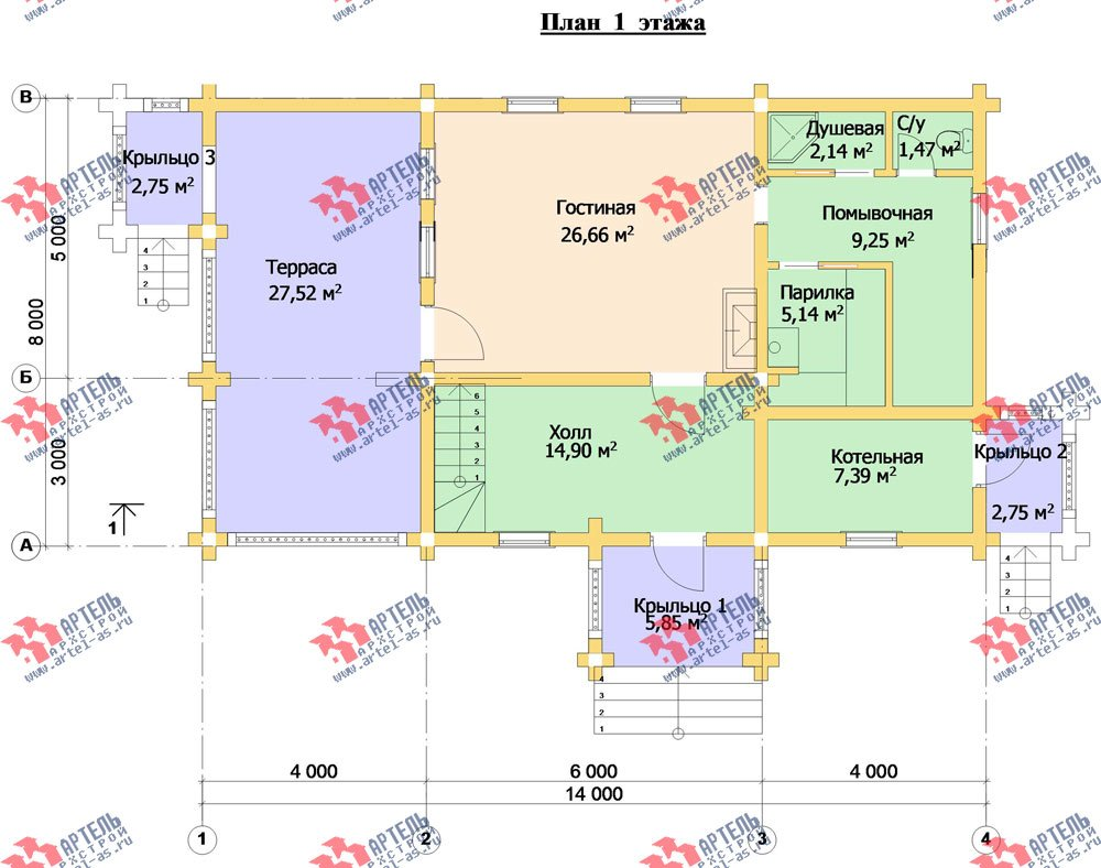 двухэтажный дом из оцилиндрованного бревна площадью свыше 200 кв. м. с  балконом, террасой, проект Вариант 3 фотография 3051