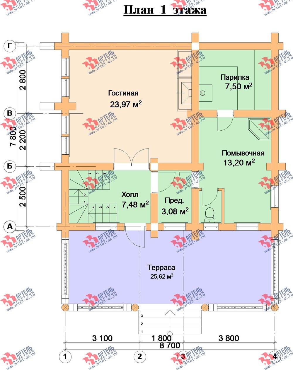 двухэтажный дом из оцилиндрованного бревна площадью от 100 до 150 кв. м. с  террасой, проект Вариант 4 фотография 3062